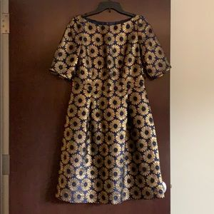 Size 10 Boden Blue & Gold Daisy Fit & Flare Dress